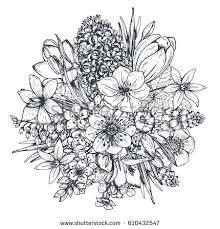 Floral position Bouquet with hand drawn spring flowers and plants Monochrome vector illustration in