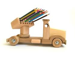 100 Wooden Truck Wood Toy For Kids Pencil Holder Truck Learning Toy Etsy