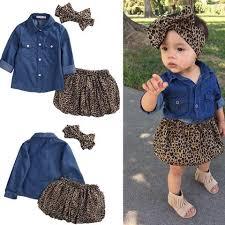 3PCS Set Cute Baby Girls Clothes 2017 Summer Toddler Kids Denim Tops Leopard Culotte Skirt
