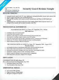 Security Supervisor Resume Samples Sample Of Guard Example Chic In Writing Tips Res Job