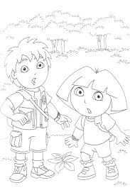 Dora And Diego On An Adventure Backpack From Go Coloring Page