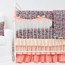 Little Mermaid Crib Bedding by Celeste U0027s Coral U0026 Gray Dark Floral Bumperless Crib Bedding Caden