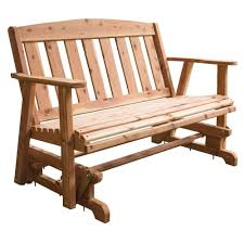 AmeriHome Amish Made Unfinished Cedar Patio Glider Bench