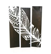 Reclaimed Espresso Wood Aztec Feather Sign Set Of 3