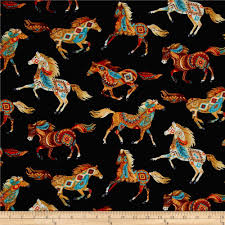 Southwest Decoratives Kokopelli Quilting Co by Timeless Treasures Out West Southwest Horses Black From
