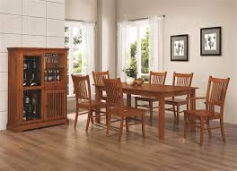 Furniture Outlet Mission Style Dining Table Set Server Buffet Hutch China Cabinet Leaf Wine Storage Shekves Coaster 100621 100622 100623 100624
