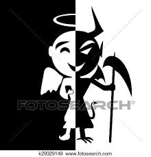 Clip Art Bipolar disorder Smile of saint and satan Angel and Devil in