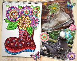 Flowers In Boot Coloring Page From Thaneeya McArdles Happy Campers Book