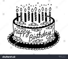 Happy Birthday Cake Retro Clipart Illustration Stock Vector