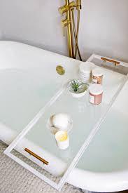 diy bathtub caddy with reading rack lucite bathtub caddy diy a beautiful mess