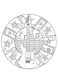 A Rocknroll Mandala For Coloring Page Dedicated To Music