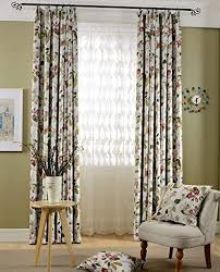 naturer vorhang kurz 140x145 mädchen zweig blumen muster vintage vorhänge wohnzimmer kräuselband lichtundurchlässig 2er set verdunklungsgardine