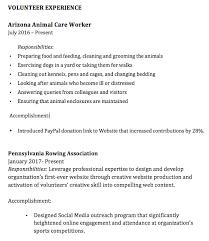 Volunteer Work Resume Sample