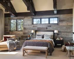 Inspiration For A Large Rustic Master Carpeted And Beige Floor Bedroom Remodel In Denver With White