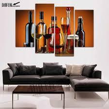 4 panel gerahmte leinwand malerei schnaps alkohol getränke flasche glas cocktail wand kunst bild für wohnzimmer wand poster