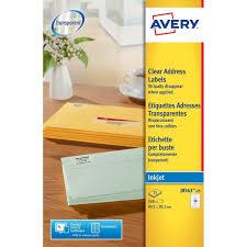 Avery J856325 SelfAdhesive Clear Address 14 Labels Per A4 Sheet