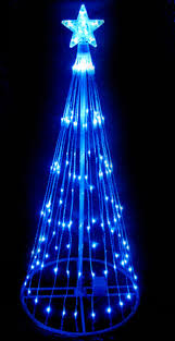Pre Lit Porch Christmas Trees by 4 U0027 Blue Led Light Show Cone Christmas Tree Lighted Yard Art