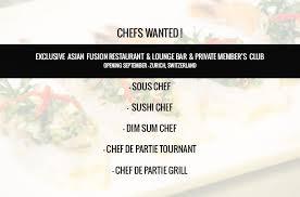 chef de partie en cuisine dim sum chef and wok chef for top fusion restaurant