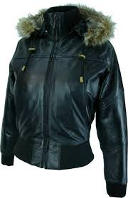womens black hooded leather bomber jacket with fur collar m1 at