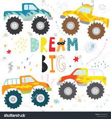100 Kids Monster Trucks Hand Drawn Doodle Truck Stock Vector Royalty
