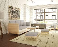 Iron Track Lighting Hardwood Flooring Gallery Art Wall Rustic Style White Stone Wallpaper Grey Sofa Set Stools Chair Coffee Table