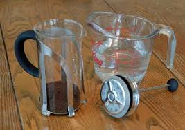 A Small French Press 20 Grams Of Coffee And 12 Fluid Ounces Water