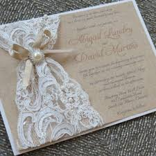 Rustic Elegant Wedding Invitations With White Lace Decoration Combined Sweet Brwon Ribbon And Lovely