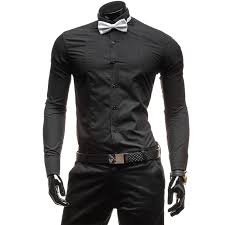 Gentleman Men Long Sleeve Shirt Ll01 Black White Dress Bow Tie Casual Cotton In Shirts From Mens Clothing Accessories On
