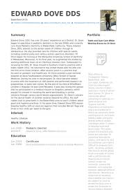 Pediatric Dentist Resume Samples Visualcv Database
