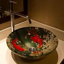 Silver Vessel Sink Home Depot by Koi Vessel Sink With Silver Faucet 139 Fontaine Koi And Lilies
