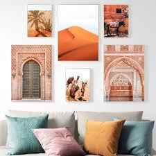 wüste esel kamel leinwand poster marokko wand kunstdrucke marrakesch boho dekoration malerei wand bilder für wohnzimmer decor