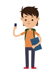 Back To School Boy Student Book Bag And Mobile Phone Stock Vector