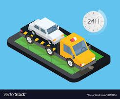 100 Truck Roadside Assistance Car Towing Truck Online Roadside Assistance Vector Image