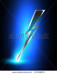 Illustration Sparkling Dark Blue Lightning Bolt Stock Vector