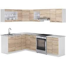 vicco küchenzeile l 250cm küchenblock winkel eck einbau sonoma eiche kombinierbare einheiten r line