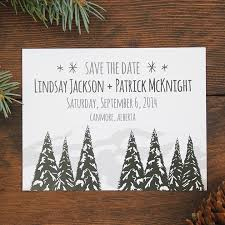 Winter Trees And Mountains Wedding Save The Date Invite