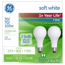 ge 30 70 100 watt 3 way incandescent light bulb 2 pack