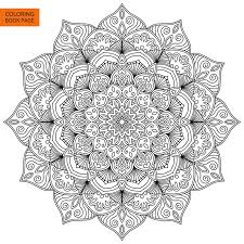 Download Coloring Book Page With Flower Mandala Stock Vector