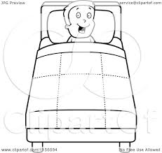Cartoon Clipart Of A Black And White Happy Boy In Bed