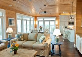 Knotty Pine Living Room Rustic With Traditional Ceiling Fans