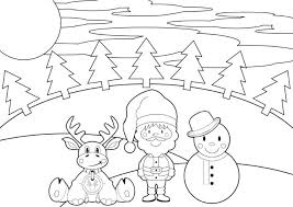 Reindeer Santa And Snowman Christmas Coloring Pages Printable