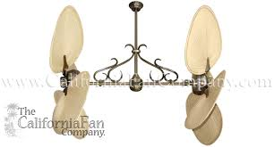 twin star ii double ceiling fan with natural palm blades the