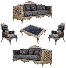 casa padrino luxus barock wohnzimmer set blau silber gold 2 sofas 2 sessel 1 couchtisch prunkvolle barock wohnzimmer möbel