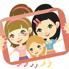 girls taking group selfie vector graphic