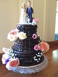 Rustic Wedding Cake Chocolate With Ganache Filling And Fresh Flowers