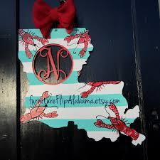 Mardi Gras Wooden Door Decorations by Crawfish Door Hanger State Of Louisiana Crawfish Door Hanger