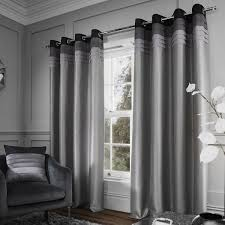 Faux Silk Eyelet Curtains by Chicago Faux Silk Lined Eyelet Curtains Grey Tonys