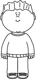 Black & White Boy Wearing a Sweater Clip Art Black & White Boy Wearing a Sweater Image
