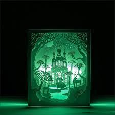 veilleuse pour chambre château led papier de coupe lumière 3d peinture sculpté veilleuse