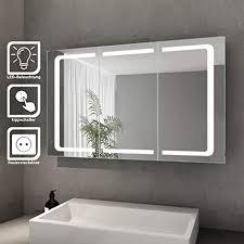 bad spiegelschrank mit beleuchtung led licht badezimmer spiegelschrank bad hängeschrank mit steckdose und kippschalter 3 türig